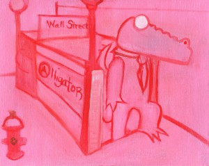 Pink, Alligator coming out of the Subway on wall street, stage painitng. Alligator getting off the NYC - A Train