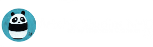 ArtChiz Studios NYC - Logo White - with Baby Panda, sapphire blue, white, black