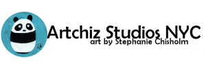ArtChiz Studios NYC - Logo Black - with Baby Panda, sapphire blue, white, black