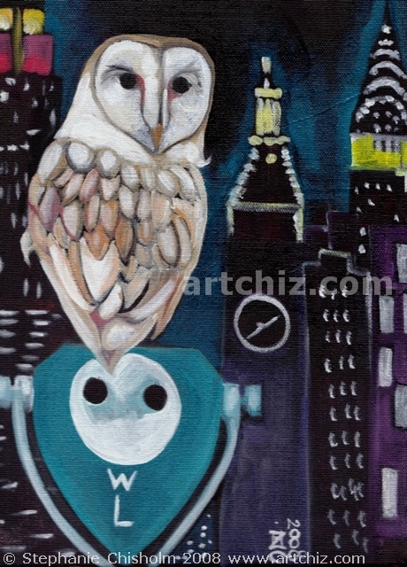 O for Owl, Barn Owl against the New York City Skyline at Night