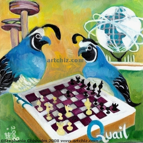 Quails playing chess in Queens Flushing Meadows Park NYC