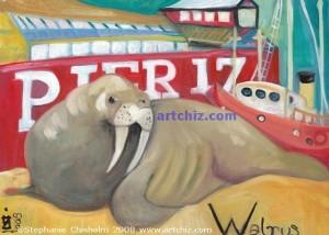 Walrus sitting on South Street Seaport Board Walk by Pier 17