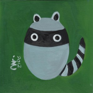 Minimalist Baby Raccoon, Cute, Art, Forest Green Background