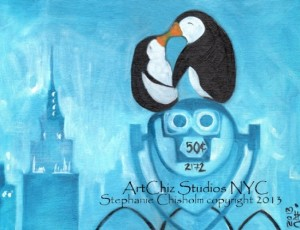 Two Penguin Kiss onto of a New York City Spy Glass