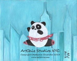 Cute Round Panda in a Tutu Flying over New York City