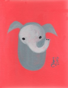 Minimalist baby Monkey, trunk up, grey, salmon