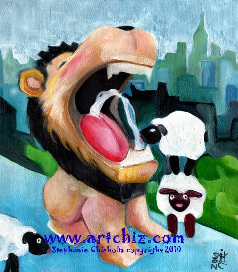 The Lion & the Lambs - Lambs drinking water out of a Lions Mouth over looking the New York City Skyline